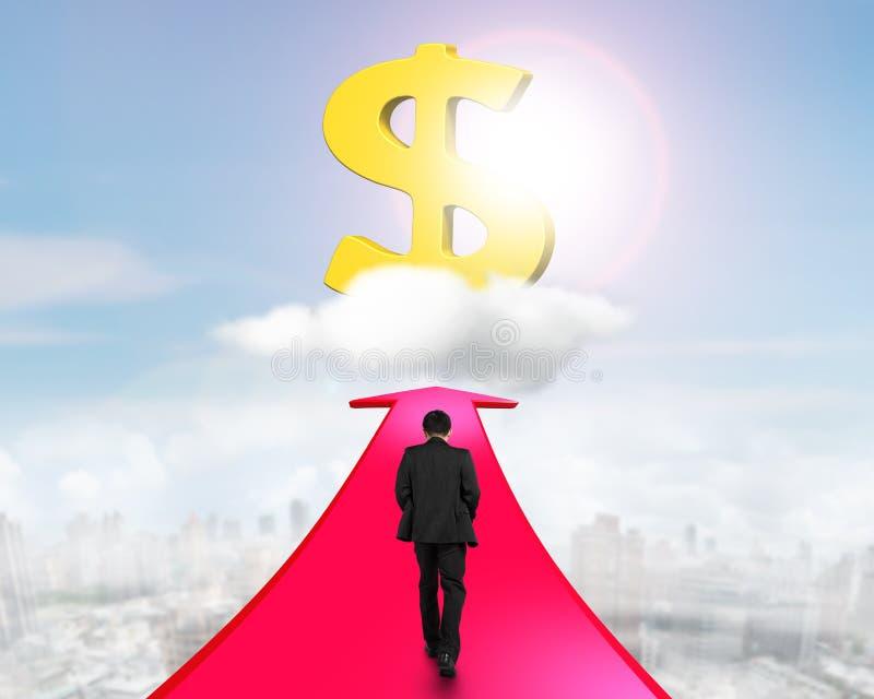 Hombre de negocios que camina en la flecha que va hacia muestra de dólar ilustración del vector