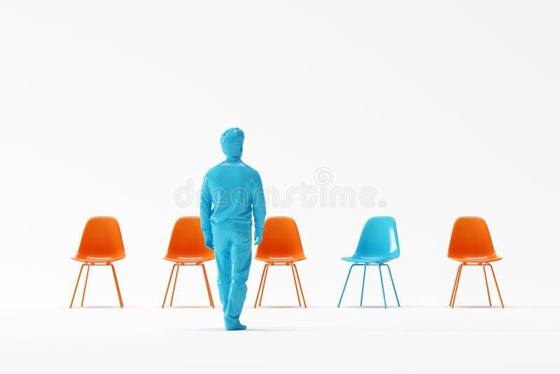Hombre de negocios que camina a la silla azul excepcional entre sillas anaranjadas en el fondo blanco fotografía de archivo
