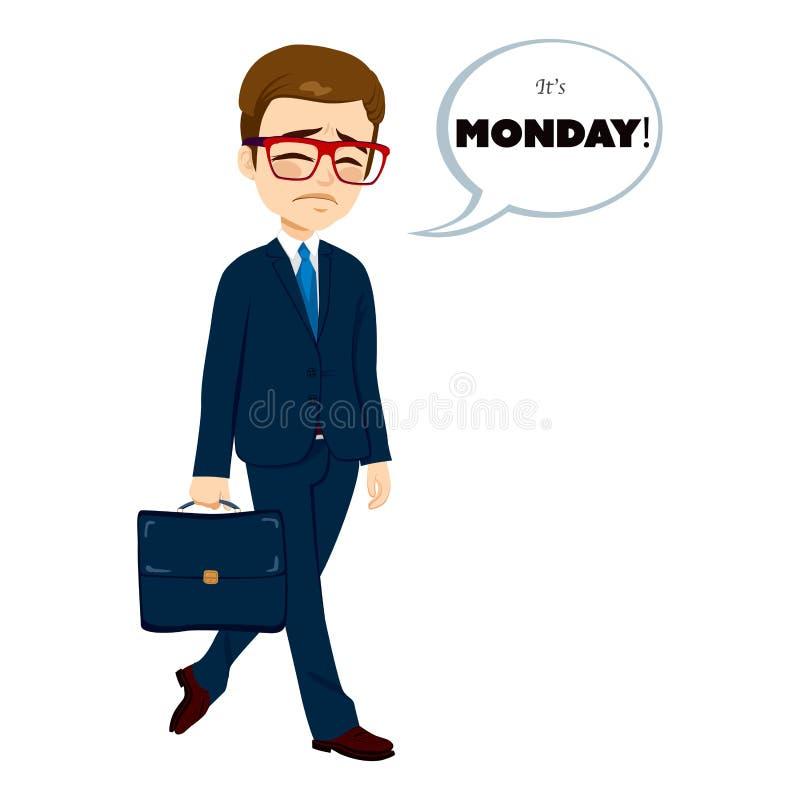 Hombre de negocios que camina triste de lunes ilustración del vector