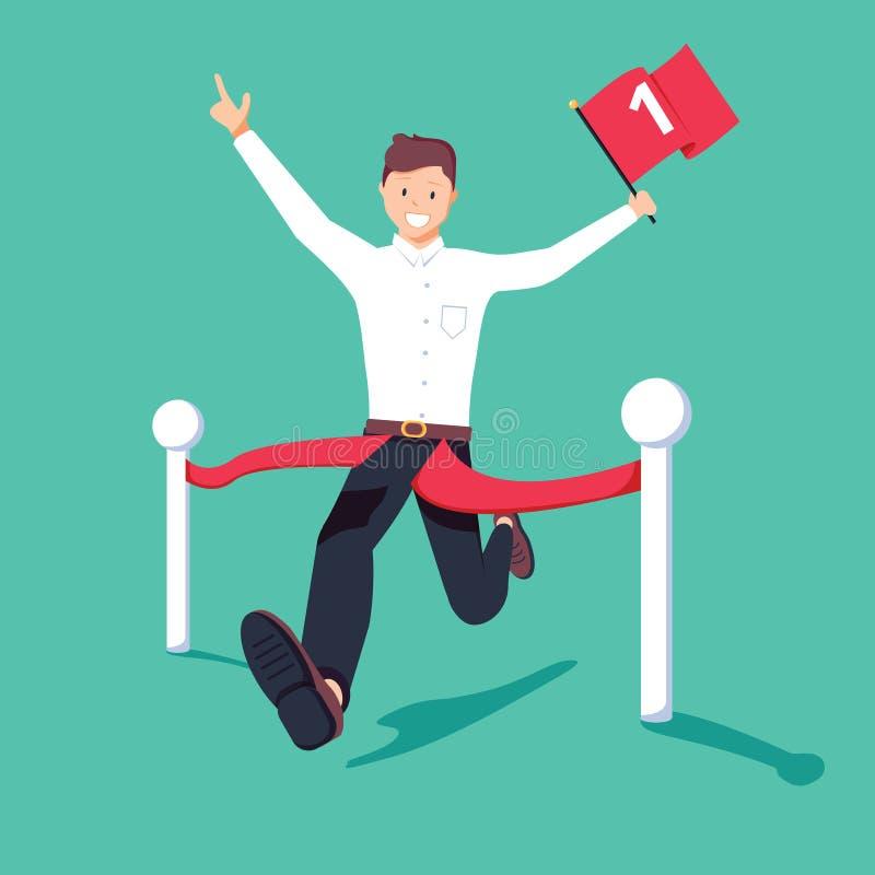 Hombre de negocios que celebra el funcionamiento de la bandera del número uno y que cruza la meta en el primer lugar Concepto del stock de ilustración