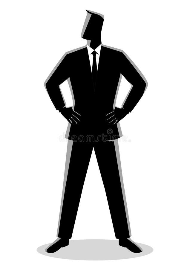 Hombre de negocios que coloca con ambos la mano alrededor de la cintura ilustración del vector