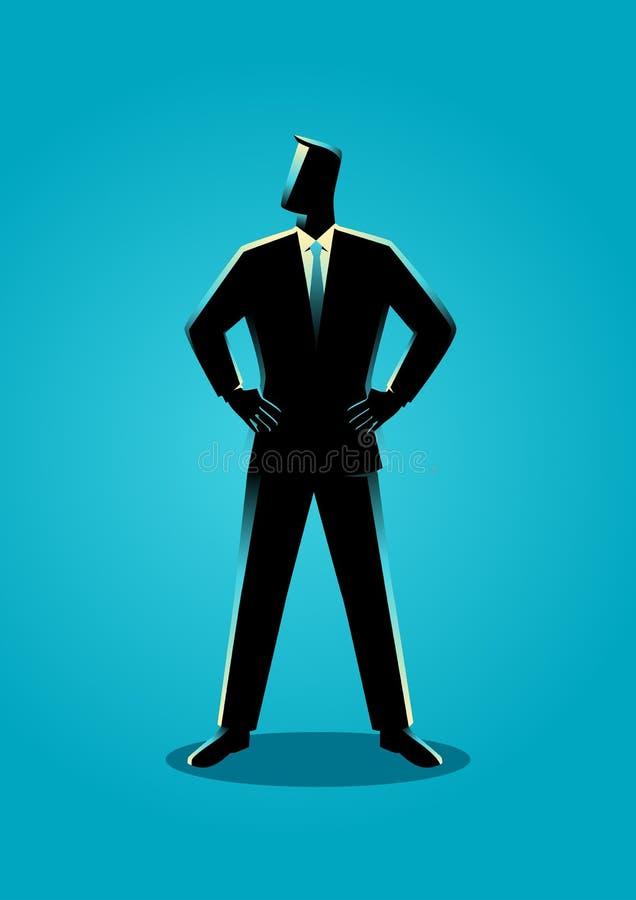 Hombre de negocios que coloca con ambos la mano alrededor de la cintura stock de ilustración