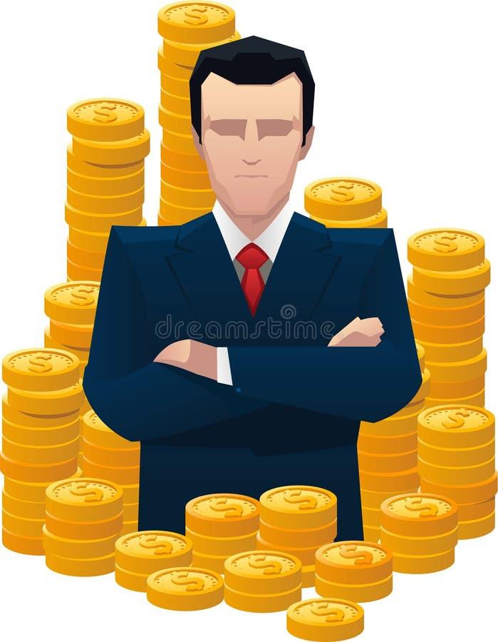 Hombre de negocios que coloca orgulloso rodeado por las monedas de oro ilustración del vector