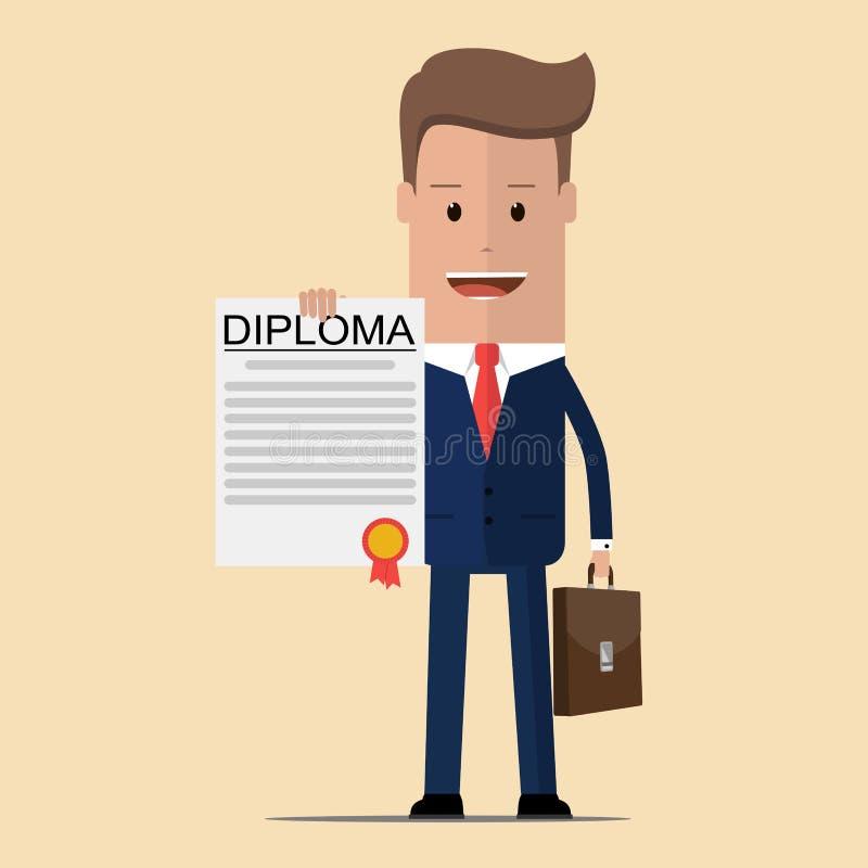 Hombre de negocios que coloca y que muestra orgulloso un diploma Ilustración del vector stock de ilustración
