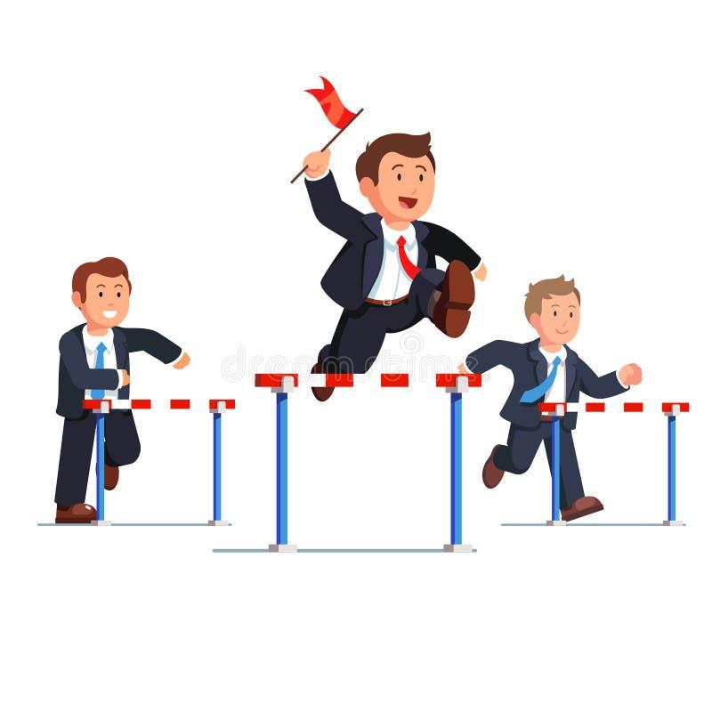 Hombre de negocios que compite en una raza de la carrera de obstáculos ilustración del vector