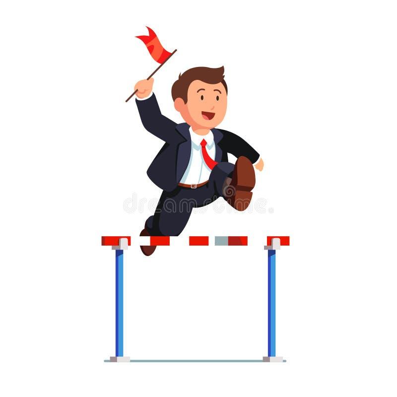 Hombre de negocios que compite sosteniendo una bandera roja del líder ilustración del vector