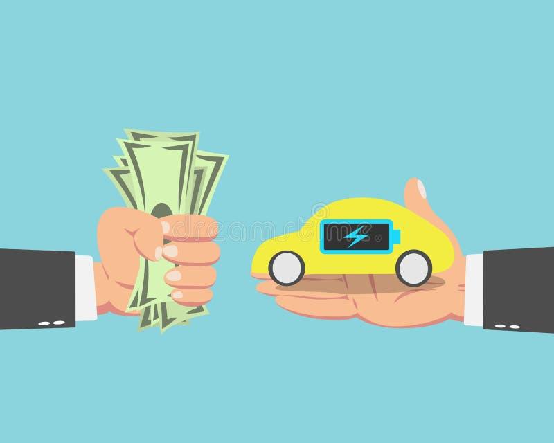 Hombre de negocios que compra un coche eléctrico ilustración del vector