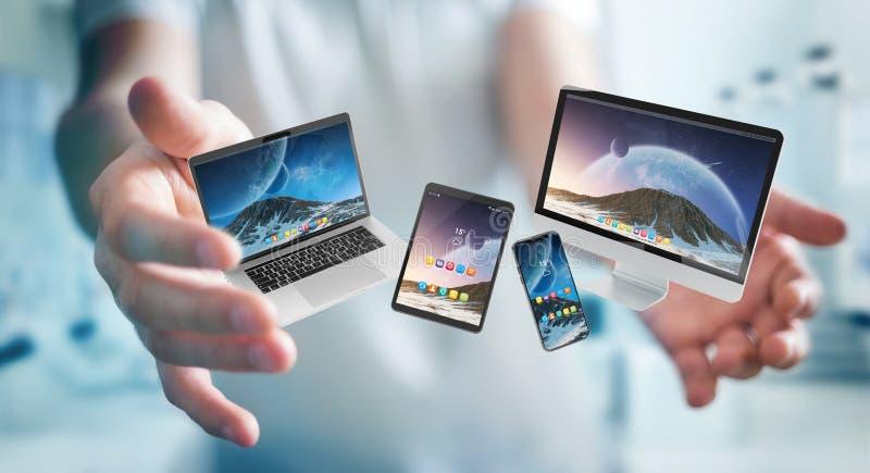 Hombre de negocios que conecta la representación moderna del ordenador portátil y del ordenador 3D de la tableta del smartphone libre illustration