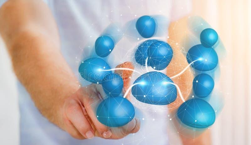 Hombre de negocios que conecta la representación social de la red 3D del icono azul libre illustration