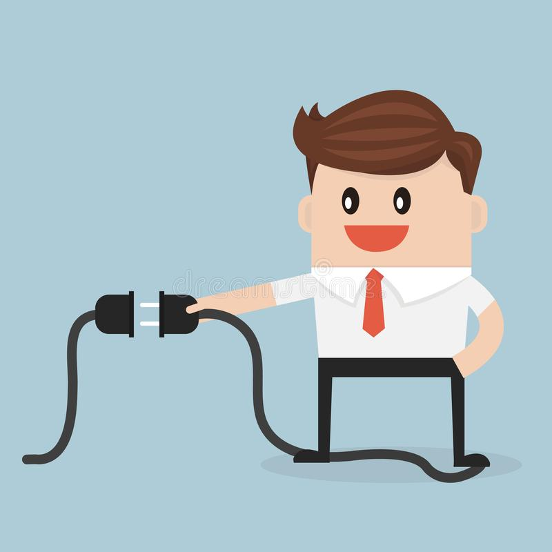 Hombre de negocios que conecta un cable eléctrico ilustración del vector