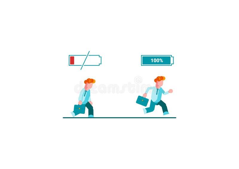 Hombre de negocios que corre con lleno de batería de la energía y hombre de negocios cansado que camina lentamente con el icono d libre illustration