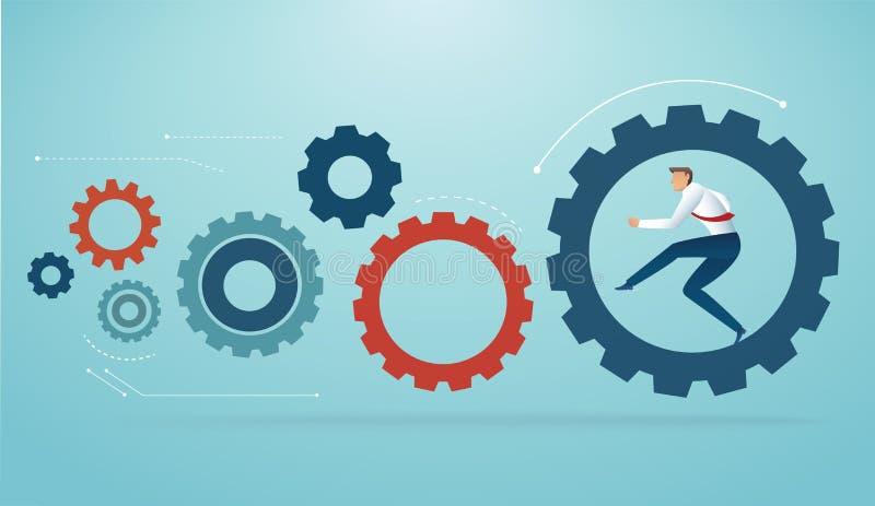 Hombre de negocios que corre en engranajes Ejemplo del vector del concepto del negocio ilustración del vector