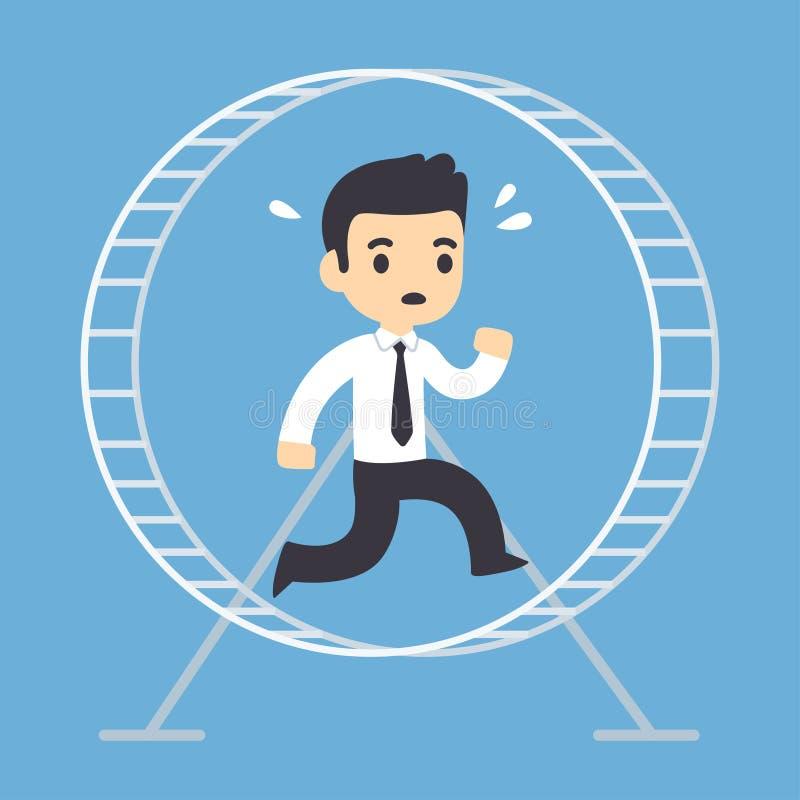Hombre de negocios que corre en rueda del hámster ilustración del vector
