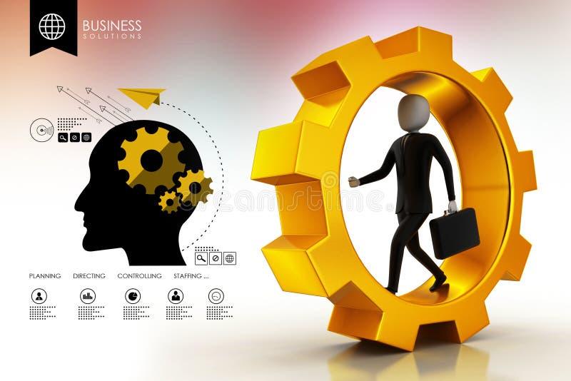 Hombre de negocios que corre en ruedas de engranaje stock de ilustración
