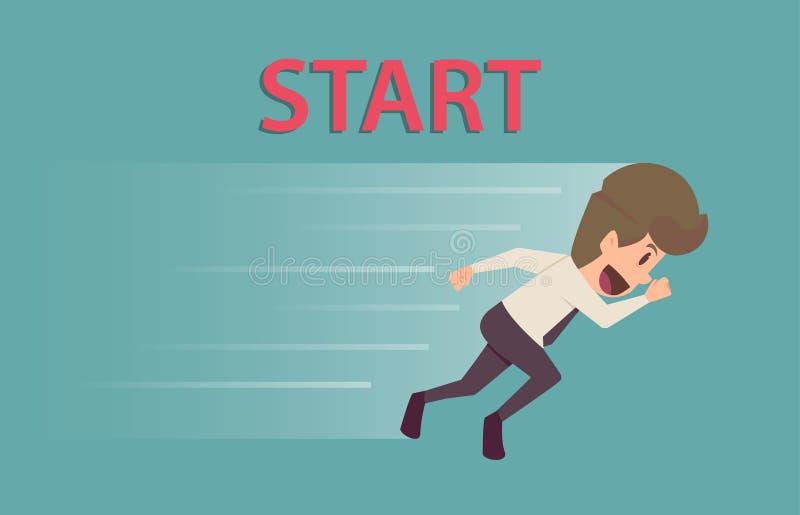 Hombre de negocios que corre a la blanco La historieta del éxito empresarial es stock de ilustración