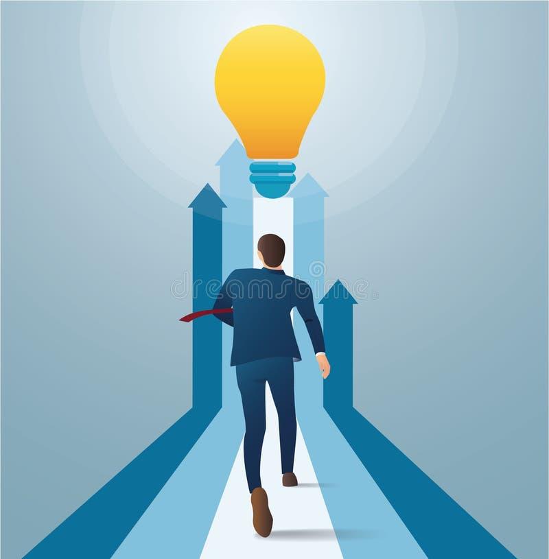 Hombre de negocios que corre a la bombilla El concepto de negocio empieza para arriba stock de ilustración