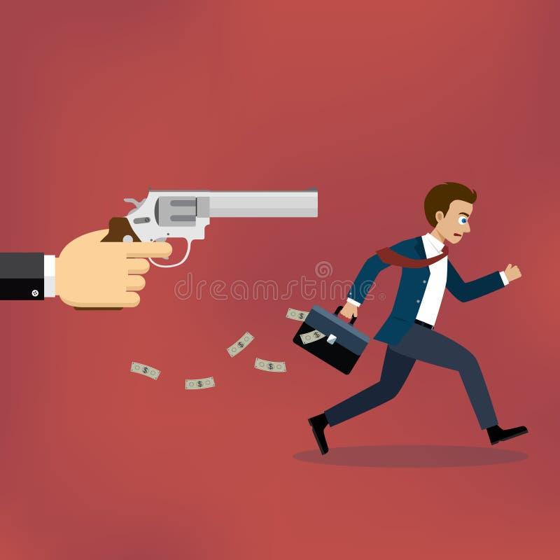 Hombre de negocios que corre lejos de pistolero stock de ilustración