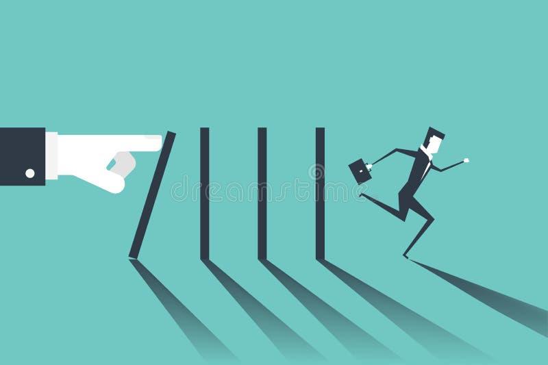 Hombre de negocios que corre lejos de domin? que cayendo por la mano del jefe Efecto de domin? y concepto de la crisis del negoci ilustración del vector