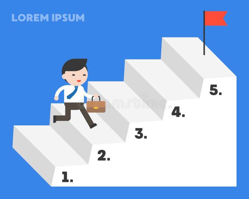 Hombre de negocios que corre para arriba por el paso de la escalera para alcanzar la meta, plantilla stock de ilustración