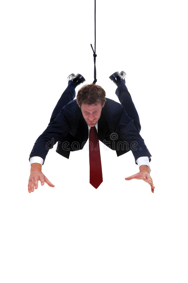 Hombre de negocios que cuelga por una cuerda para los placemen del producto fotos de archivo libres de regalías