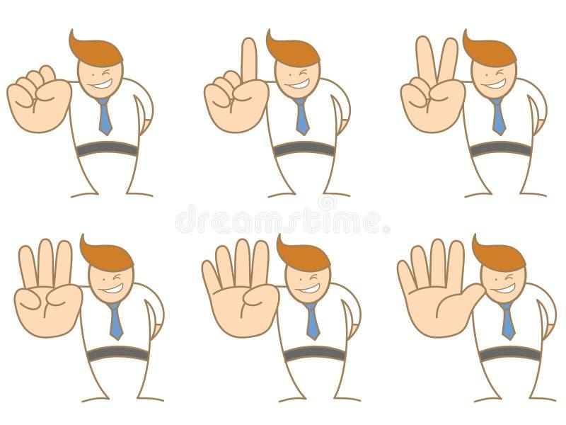 Hombre de negocios que cuenta el número cero a cinco libre illustration