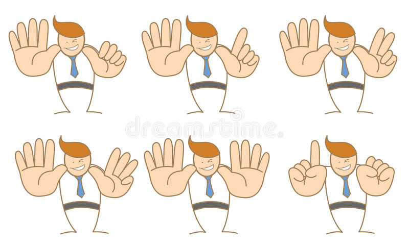 Hombre de negocios que cuenta el número seis a diez libre illustration