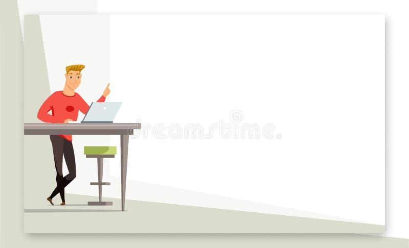 Hombre de negocios que da la plantilla de la bandera de la presentación stock de ilustración