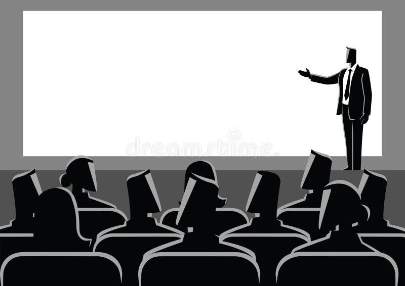 Hombre de negocios que da una presentación en la pantalla grande stock de ilustración