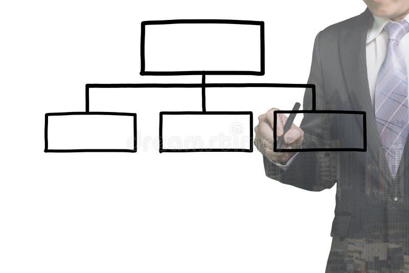 Hombre de negocios que dibuja la carta de organización en blanco libre illustration