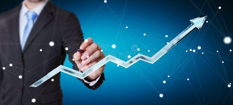 Hombre de negocios que dibuja la flecha azul digital con una representación de la pluma 3D ilustración del vector