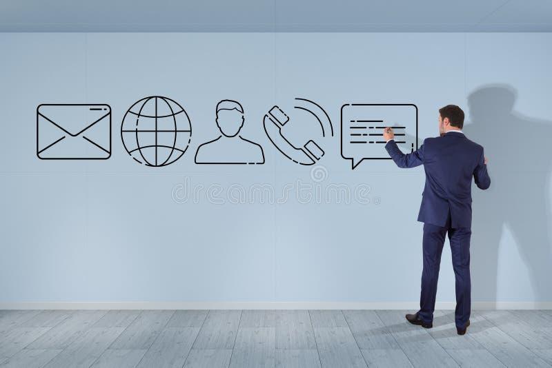 Hombre de negocios que dibuja la línea fina icono del contacto ilustración del vector