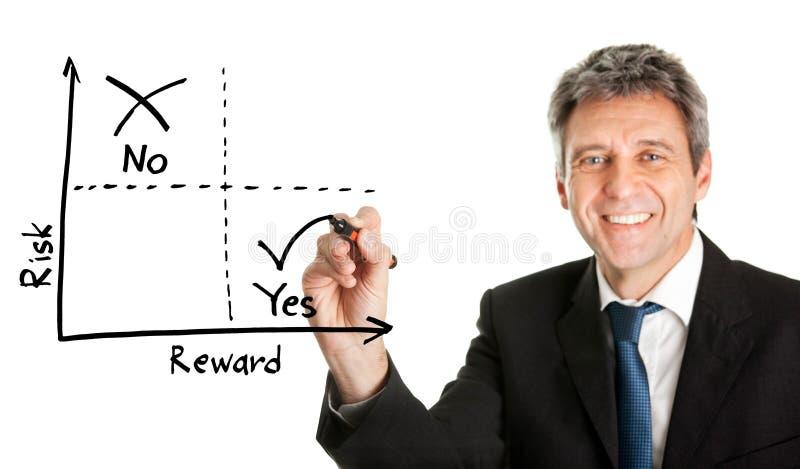 Hombre de negocios que dibuja un diagrama de la riesgo-recompensa imagenes de archivo