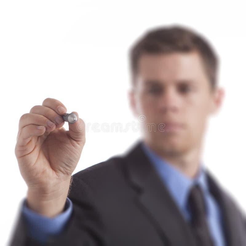 Hombre de negocios que drena el diagrama en blanco imágenes de archivo libres de regalías