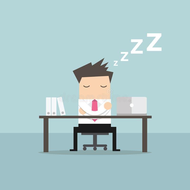 Hombre de negocios que duerme en el diseño plano de los trabajos stock de ilustración
