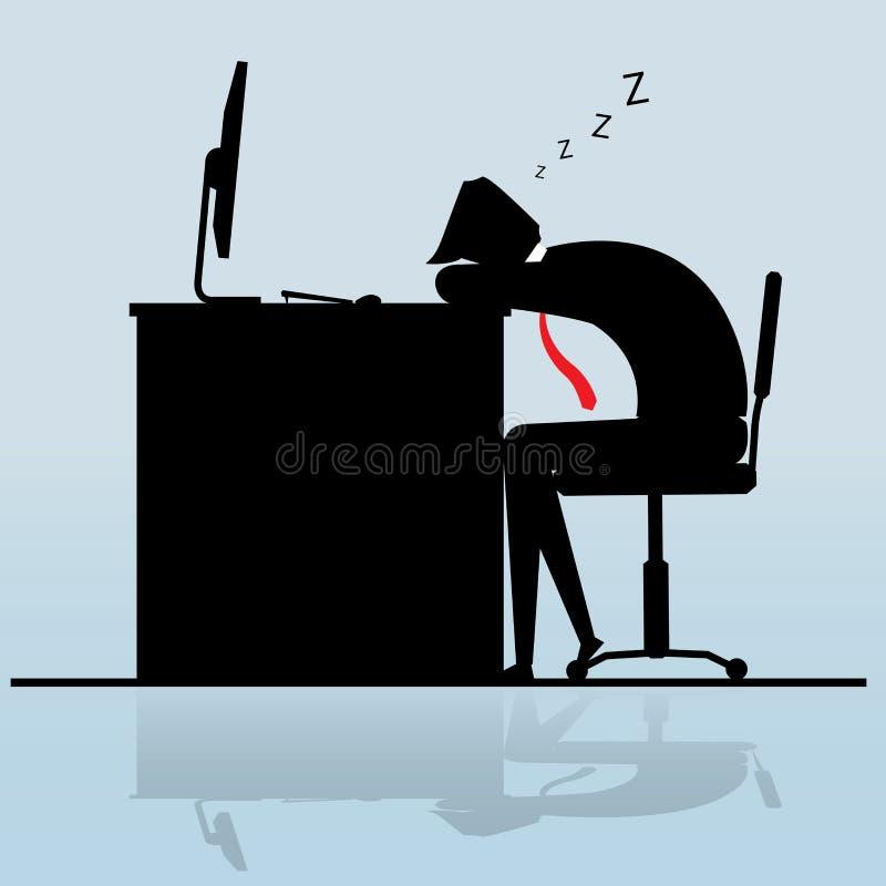 Hombre de negocios que duerme en el escritorio stock de ilustración