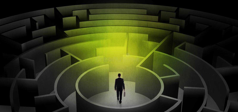 Hombre de negocios que elige entre las entradas en un centro de un laberinto oscuro libre illustration
