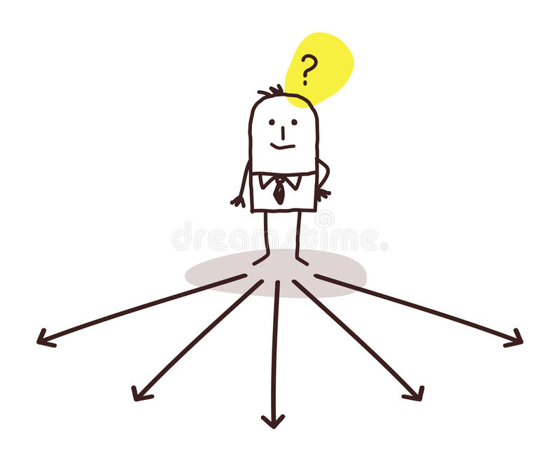 Hombre de negocios que elige la dirección stock de ilustración