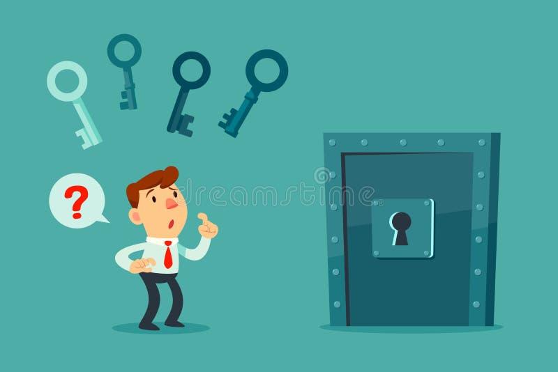 Hombre de negocios que elige llave para desbloquear la puerta stock de ilustración