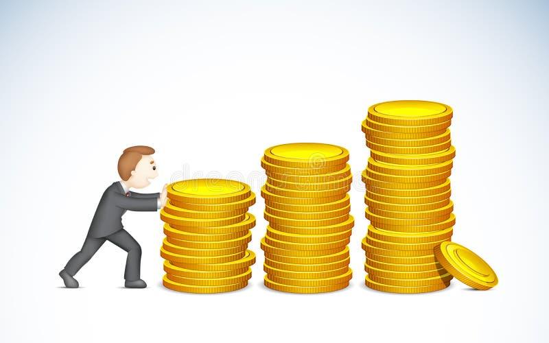 Hombre de negocios que empuja Bargraph de la moneda stock de ilustración