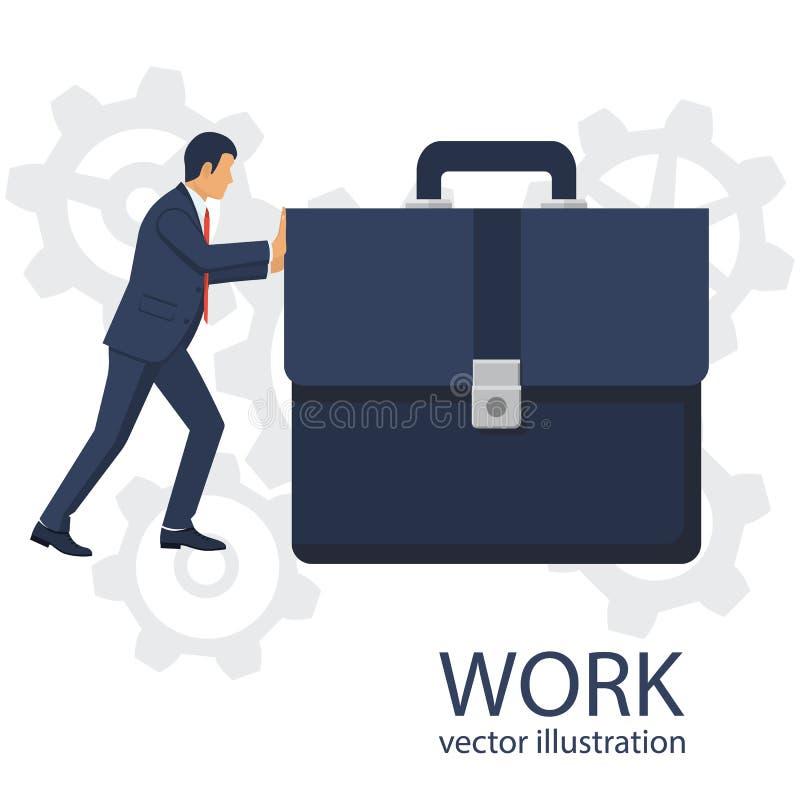 Hombre de negocios que empuja briefcas grandes como símbolo del trabajo duro stock de ilustración