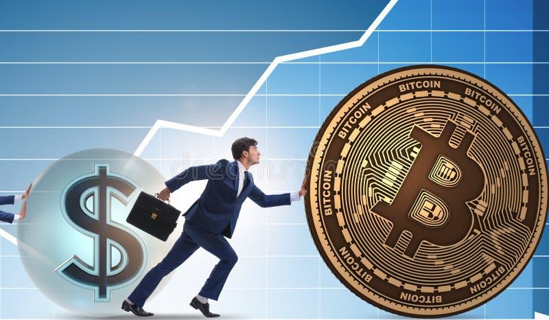 Hombre de negocios que empuja el bitcoin en concepto del blockchain del cryptocurrency fotos de archivo