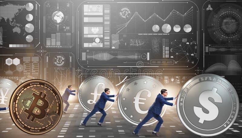Hombre de negocios que empuja el bitcoin en concepto del cryptocurrency fotografía de archivo libre de regalías