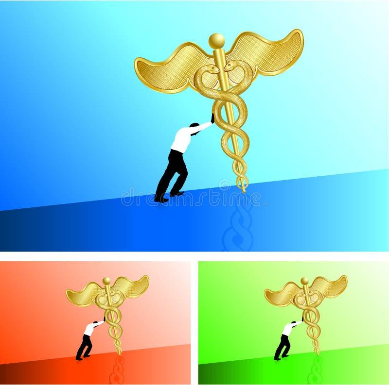 Hombre de negocios que empuja el caduceo médico cuesta arriba libre illustration