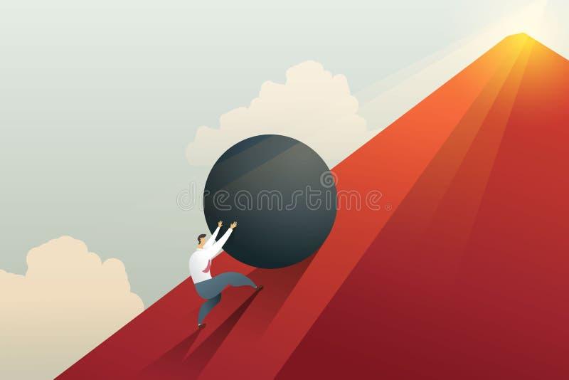 Hombre de negocios que empuja el canto rodado hasta desafío de la colina y del trabajo duro Vector del ejemplo del concepto stock de ilustración