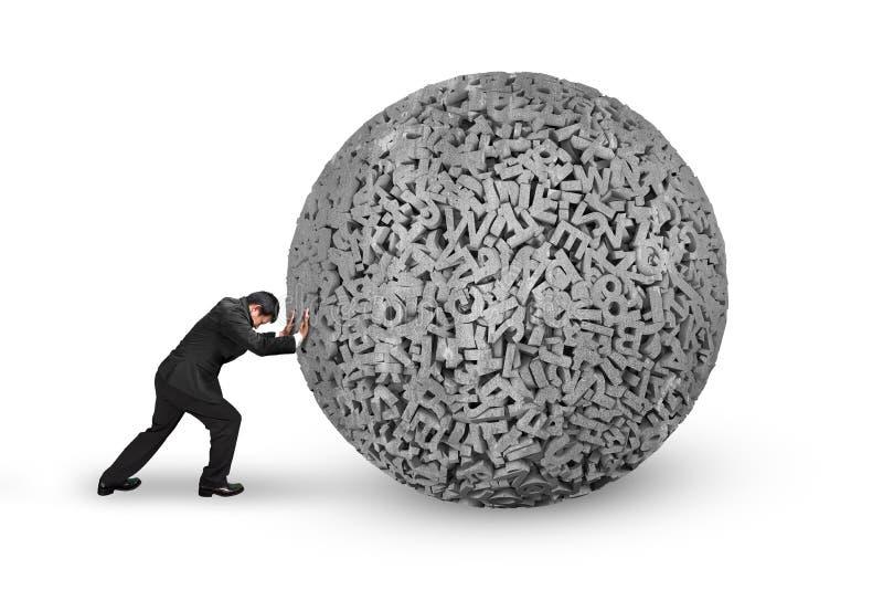 Hombre de negocios que empuja la bola concreta de los datos grandes de los caracteres 3d