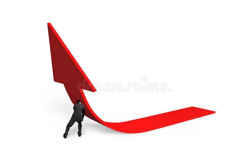 Hombre de negocios que empuja la flecha roja de la tendencia 3D hacia arriba stock de ilustración