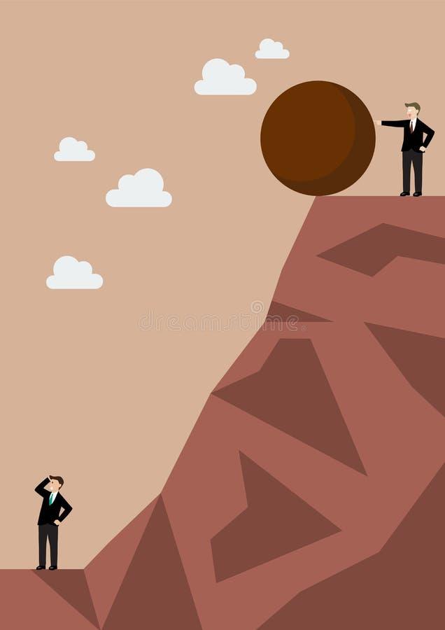 Hombre de negocios que empuja la piedra pesada a su enemigo ilustración del vector