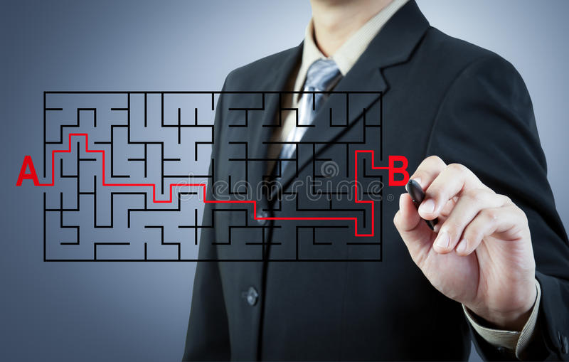 Hombre de negocios que encuentra la solución de A a B imagen de archivo