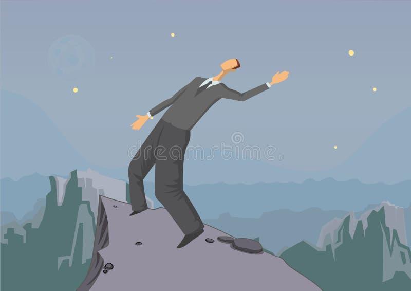 Hombre de negocios que equilibra al borde del abismo, concepto del negocio, ejemplo del vector stock de ilustración
