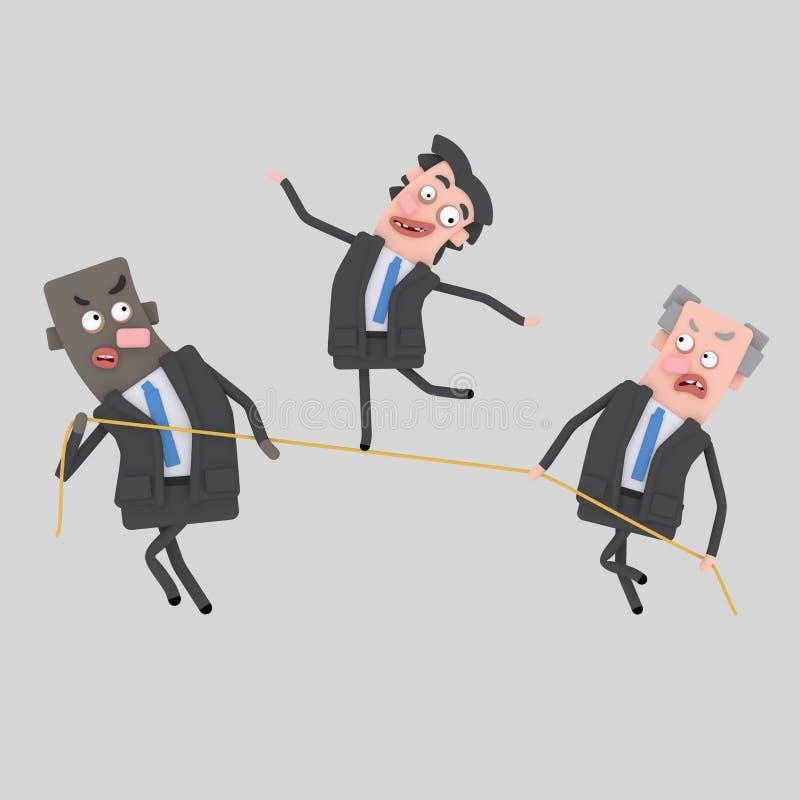 Hombre de negocios que equilibra en cuerda libre illustration